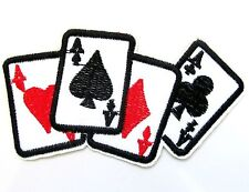 Poker Four Aces Iron On Patch- Playing Cards Spades Embroidered Applique Badge