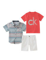 Calvin Klein Jeans 3-Piece Boys Shorts & 2 Shirt Set .  Size 5,6.