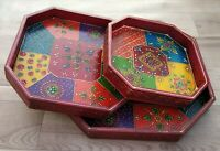 "Serving Tray 3 Pcs set 12"" Wooden handmade emboss painting work Floral Design"