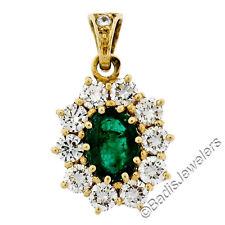 VINTAGE 18ct Oro Amarillo 2.68ct Ct Ovalado Emerald Solitario Diamante Redondo
