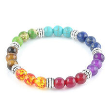 Chakra 7 Stone Gemstone Yoga Healing Point Crystal 8mm Bead Bracelet Stretchy VL