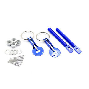 Universal Aluminum Racing Auto Bonnet Lock Latch Kit Car Flip Over Hood Pin Blue