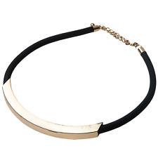 Kenneth Jay Lane Black Rubber/Satin Gold Tube necklace