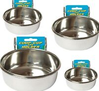 COOP CUPS - (Small - XL) - Staintless Steel Cage Bowls dm Bird Animal Food Water