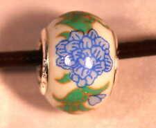 10 Pulsera De Plata Azul Verde Blanco de la porcelana flor del crisantemo encanto granos