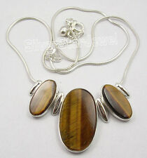 """925 Solid Silver BROWN TIGER'S EYE 3 GEMS UNUSUAL Snake Chain Necklace 18 1/4"""""""