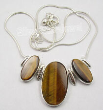 "925 Silver TIGER'S EYE Rentrée Des Classes Gift Snake Chain Necklace 18 1/4"""