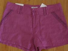 * Womens Sz 12 Calvin Klein CK Shorts Linen Purple Button 4 Pockets Flat Solid
