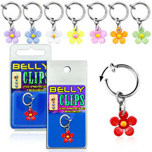 1-4PC Clip On Belly Button Ring No Piercing Needed w/ Acrylic Dangling Flower US