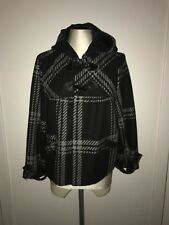 Ladies/Woman's Cropped Swing Coat - Size 12 - Black & Grey - Duffle Buttons