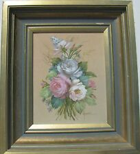"NAN BRETEL AUSTRALIAN FRAMED ""STILL LIFE OIL BUNCH OF ROSES"" C 1990"