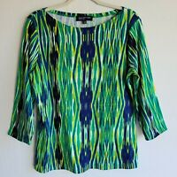 Jones New York Green Abstract 3/4 Sleeve Top Shirt sz L