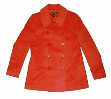 NWT Ralph Lauren Women's Orange Double Breasted Wool Coat 8