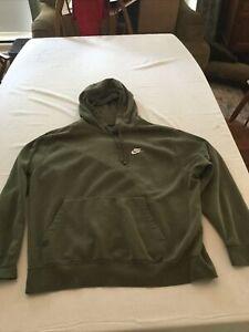 Nike Mens XL Olive Green Pullover Sweatshirt Hoodie ~ 80% Cotton