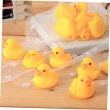 10pcs Baby Bathing Bath Tub Toys Mini Rubber Squeaky Float Duck Yellow GU