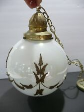 Mid-Century Modern Globe/Sphere Glass Ceiling Light With Bronze Tone Leafing