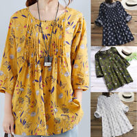 Women Ladies 3/4 Sleeve Plus Size Loose Blouse Pullover Button Tops Shirt Jumper
