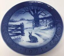 Royal Copenhagen 1971 Blue & White Christmas Plate Hare In Winter