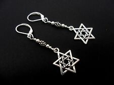 A PAIR OF TIBETAN SILVER DANGLY STAR OF DAVID LEVERBACK HOOK EARRINGS. NEW.