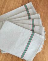 VINTAGE FRENCH UNUSED LINEN METIS TORCHON TEA TOWEL RED & GREEN STRIPES