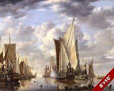 Mediterranean Coastal Scene by C J Vernet Sailing Ship Rocks 8x10 Print 2100