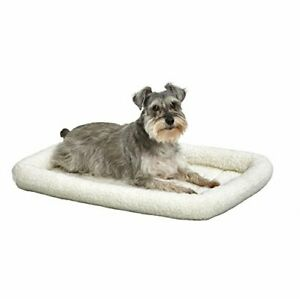30L-Inch White Fleece Dog Bed or Cat Bed w/ Comfortable Bolster Ideal for Med...