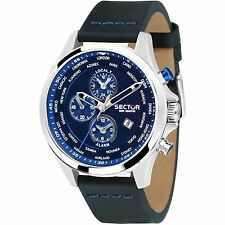 OROLOGIO SECTOR 180 world dual time R3251180023 uomo watch cronografo pelle blu