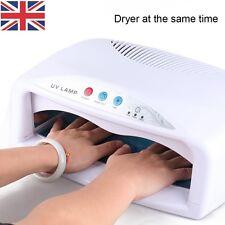UK Large Double Hands UV Gel Curing Lamp Manicure Nail Art Dryer Timer Fan 54W
