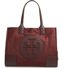 Brand New Tory Burch Ella Mini Small Nylon Shoulder Tote Port Wine Red AUTHENTIC