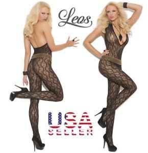 EM-1608 Black. One size Deep V-Neck lace bodystocking. Elegant Moments Lingerie