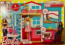 Barbie 2 Story House w/Furniture & Accessories Four Rooms, Close & Go Great Gift