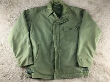 Vintage United States Coast Guard Jacket A-2 Green Fur Lined STENCIL USCG Deck