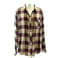 Rails Brown Red Plaid Flannel Top Size M Long Sleeve Button Front Collar Womens