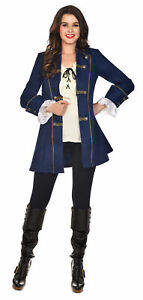 Adult Ladies Pirate Steampunk Military Tailcoat Musketeer Fancy Dress Jacket