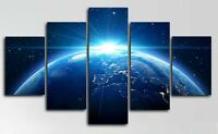 Night Planet Earth Space 5 Piece Canvas Wall Art Poster Print Home Decor