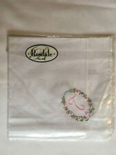 Monogrammed Handkerchief with pink letter T in floral wreath. new in packet