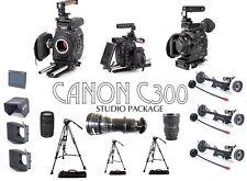 CANON C300 PACKAGES x3 w/ ARRI FOCUS & MBX, ANGENIEUX 25-250 TOKINA, MBX, TRIPOD