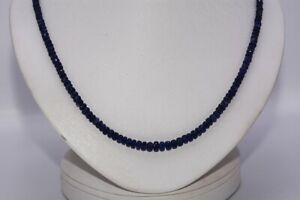 $1,100 66.00CT NATURAL BLUE BURMESE SAPPHIRE STRAND NECKLACE .925 SILVER