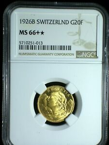 Switzerland 1926 Gold 20 Francs **NGC MS-66+ With Star** High Investment Quality