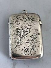 More details for victorian silver vesta case birmingham, joseph gloster 1894 approx 0.65 oz 5cm