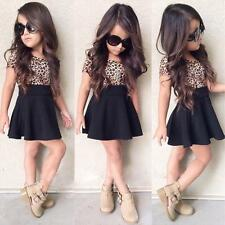2017 Baby Kid Girls Leopard Mini Short Skirt Dress Party Casual Clothes 2-9Y 100