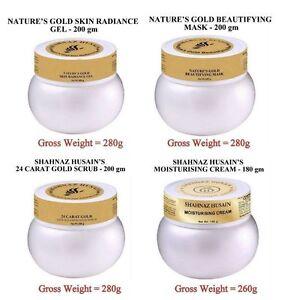 Shahnaz Husain Hussain 24 Carat Gold Facial Kit Salon Size Mask Scrub Gel Cream