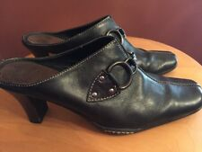 Aerosoles Cinch Worm Black Leather Heels Slip On Mules Clogs Pumps Size 9B