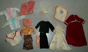 Vintage Lot of 13 Items  Doll Clothes and Accessories Plastic Doll