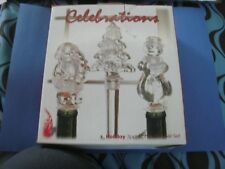 Celebrations 3 Pc. Holiday Frosted Glass Bottle Stoppers New In Box Free Ship
