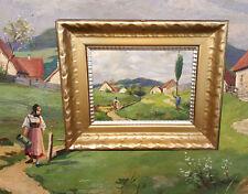 Idílico Paisaje de verano con Criada y wanderer. Original Pintura al óleo R.