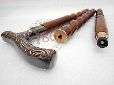 New listing Antique Brass Derby Head Handle Vintage Style Walking Stick Spiral Carved Wood