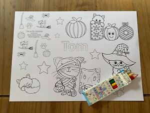 Personalised A4 Kids Children Halloween Activity Colouring Fun Place Mat