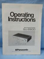 Panasonic SU-2800 Integrated Amplifier Operating Instructions User Manual
