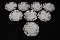 "Set of 8 Minton Bone China ANCESTRAL Floral S376 8"" Salad Plates, England"
